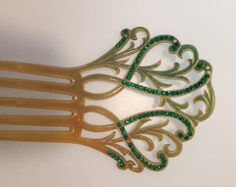 ART DECO Hair Comb Green RHINESTONES Hair Comb 1920s Vintage Celluloid Hair Comb Hair Accessory Marbled Green Acccents