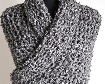 Extra Large Size Outlander Inspired Shawl Gray Color Wrap Knitted Chunky Rustic Long Stole with Tassels