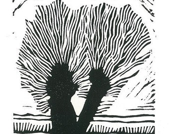 DOUBLE WILLOW - Linocut Print - Miniature Tree Print - Ready to Ship