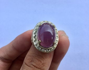 PC4 Purple chalcedony ring, vintage ring
