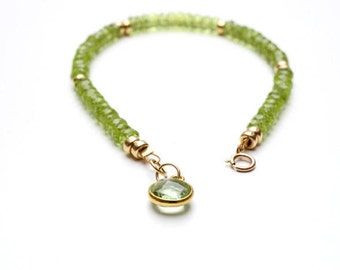 Peridot Bracelet, Peridot Jewellery, August Birthstone, Green Peridot Jewelry, 14K gold filled, Handmade Jewellery, Her Gift, Birthday Gift