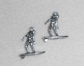 Silver Sports Surfer Charms