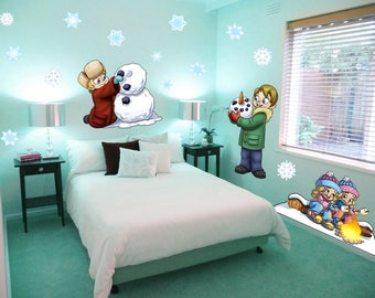 Snow Day Christmas Peel and Stick Reusable Vinyl Wall Decals