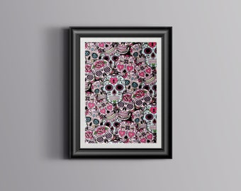 Sugar Skull, Sugar Skull poster, Sugar Skull Gifts, Sugar Skull Decor, Sugar Skull Wall art, Sugar Skull art, Day of the Dead print.