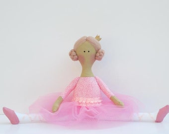 Fabric doll, ballerina doll pink, cloth doll stuffed doll softie, rag doll ballet dancer - baby shower gift nursery decor