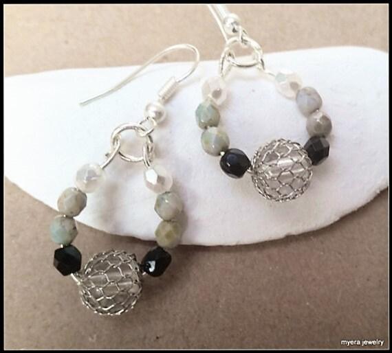 Beaded drop earrings, Statement Earrings, Large Dangle Earrings, Big Womens Earrings, Black White Earrings, Womens Ball Earrings