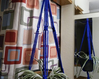 """Macrame Plant Hanger 40"""" Long Made in USA Royal Blue Forest Green Wine and Burgundy White Black"""