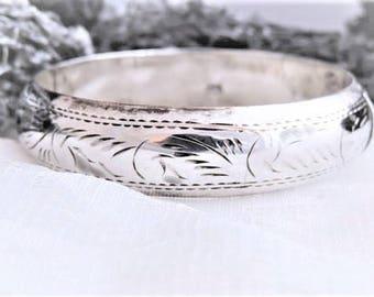 Sterling Silver Bangle Bracelet Etched