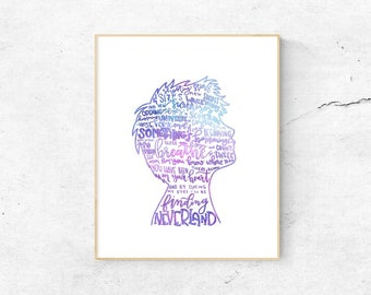 Finding Neverland Musical Silhouette Print | Hand-Lettered | Purple, Blue | Digital Download