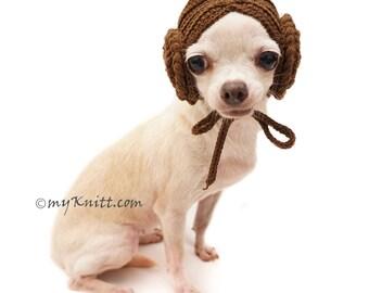 Princess Leia Dog Wigs, Dog Hats, Dog Hats Winter, Dog Hat Crochet, Chihuahua Hats, Boudoir Hat, Cat Hats, DW2 Myknitt - Free Shipping
