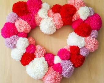 hearts wreath, pompom,wreath,love, fluffy, love heart,wall hanging, wall plaque, wall tapestry, pink heart,red heart, multi coloured,