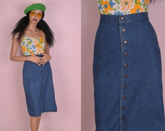 70s Button Down Denim Skirt/ US 7/ 25 Waist/ 1970s/ High Waisted