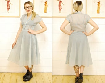 1950's/60's Pale Blue Sheer Crepe Fit and Flare Party Dress / Prom Dress / Cocktail Dress / Rare Collectible Retro