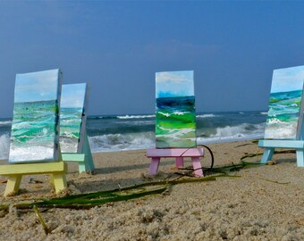 Peaceful Sky / A mini Slice of the Beach / Original acrylic on canvas,  choice of natural or painted easel
