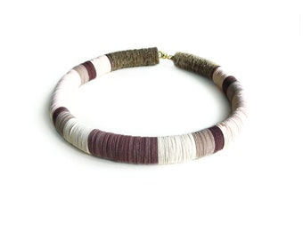 Colorful brown choker, paper jewelry, brown and beige statement necklace, made of paper and rubber, stripes necklace, modern, gift for her
