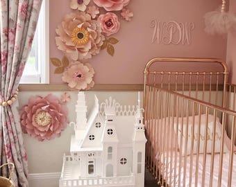 WINNIE DOT 3 Paper flower backdrop/Paper flower wall/Wedding Backdrop/Bridal Baby shower/Holy communion/Nursery decor/Baby room decor