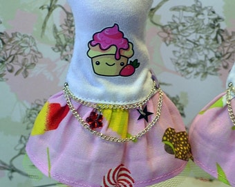 Sleeveless dress for Pullip doll white and pink
