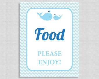 Food Sign, Blue Whales Food Table Sign,  Baby Boy Shower Sign, INSTANT PRINTABLE