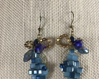 Blue Bee Earrings