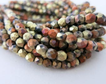 4mm Mojave Desert Beads, Etched Matte Metallic Czech Glass, Earthy Boho Mix, Strand of 50, Ready to Ship