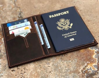Slim Leather Passport Cover, Handmade & Personalized Wallet - Passport Holder -#2018-03