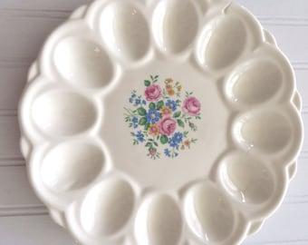Vintage E R American Art Ware Egg Plate Cheerful Flower Pattern