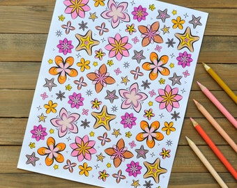 Fun Flowers coloring page