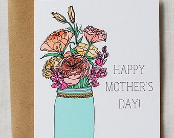 Mother's Day Card- Floral Mason Jar