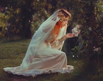 Custom fantasy wedding gown bridal dress corset medieval dress fairytale gothic wicca pagan fairygoth alternative handfasting costume