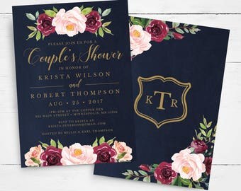 Couples Wedding Shower Invitation Template INSTANT DOWNLOAD, Editable Couple's Wedding Shower Template, watercolor, roses, marsala, burgundy