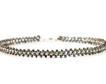 Black Anklet - Bead Anklet Chain - Ankle Bracelet - Seed Bead Jewelry - Beaded Anklet - Beadwork Jewelry