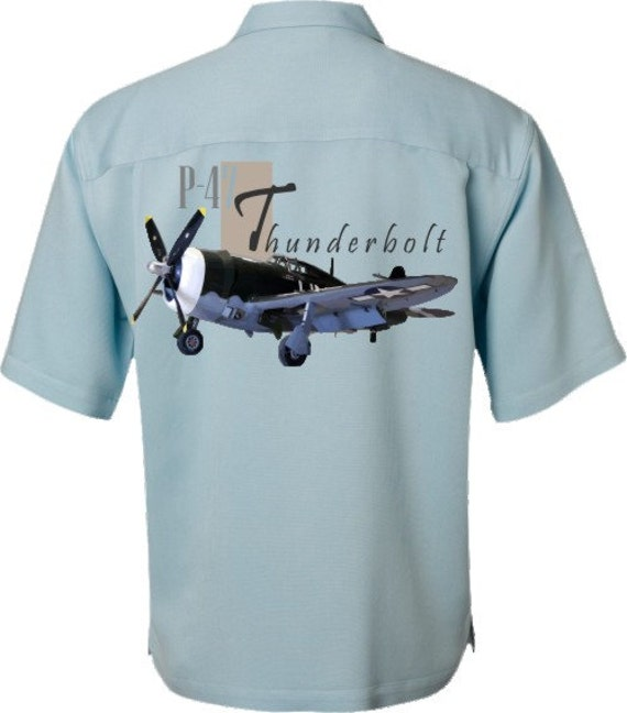 Men's Airplane Shirt-World War II-Aviation Shirt, Ivory-P-47 Thunderbolt, military gift,dad gift,veteran gift,aircraft