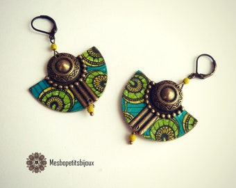Colorful earrings, inspired blue green African fabric