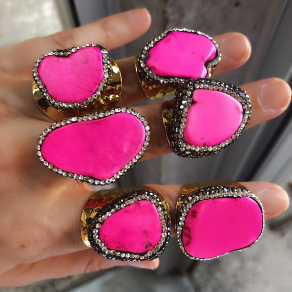 Hot Pink Howlite Rings, Boho Jewelry