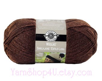 CHOCOLATE Woolike Loops and Threads Yarn. 85% Acrylic / 15 Nylon. A Super Fine Fingering Weight, Sock yarn is smooth and soft. 3.5oz 678yd >
