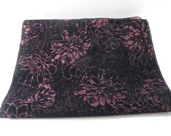 Vintage Black Flocked Iridescent Floral Evening Scarf