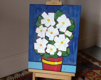White Flowers; Red Pot