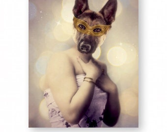 "Dog Art Print German Shepherd Animal Art Anthropomorphic Animals In Clothes Funny Gift (3 Sizes Available) ""When Midge Was Asked To Dance"""