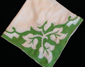 Vintage Appliqued Handkerchief from Madeira--Green and White