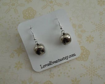 Silver Bell Earrings - Holiday Earrings - Sterling Silver - Hypo Allergenic