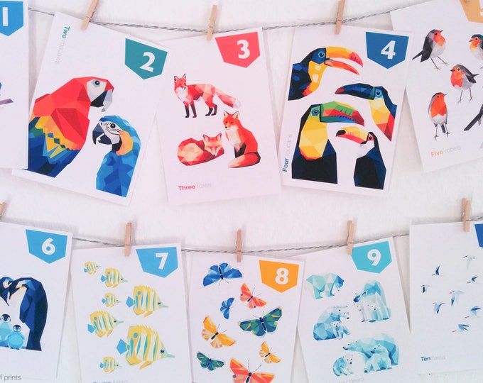 Counting flashcards, 123 cards, Alphabet art, Animal cards, Child educational art, Number cards, Learning baby nursery art, Homeschooling