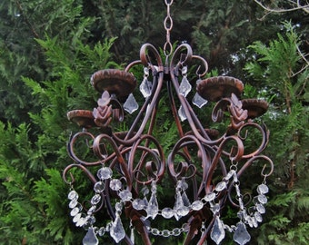 Large Queen Dancing Creek Candle Chandelier in Oil Rubbed Bronze with Clear Drops MADE TO ORDER