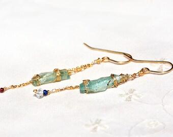 Long Roman Glass Earrings Roman Glass Gold Filled Chain Earrings  Roman Glass+ Gemstone Beads Israeli Roman Glass Jewelry Free Shipping