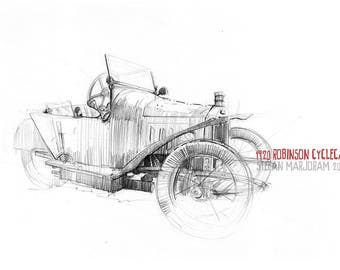 1920 Robinson Cyclecar - Original A3 Pencil Sketch