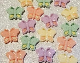 8 MixedButterfly Cabochon Pastel Flatback Flat Back Coloured Resin Kawaii to Glue for Phone DIY Custom Pink Purple Yellow Orange 22mm