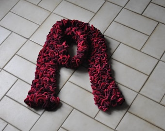ruffled red and fuchsia scarf