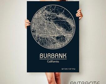 BURBANK California Map Burbank Poster City Map Burbank California Art Print Burbank California poster Burbank California map art