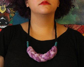 Crochet Raw Silk and Yarn Necklace