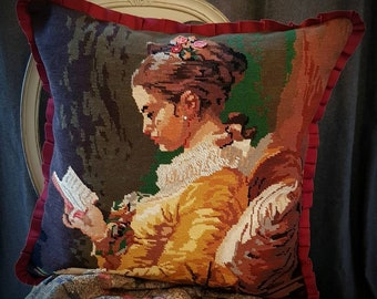 Young girl reading Hand embellished vintage needlepoint cushion. Appx 50x50cm