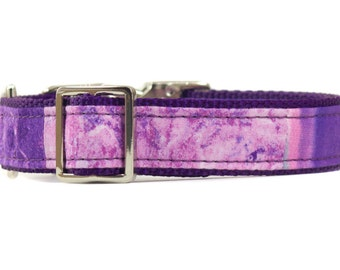 Purple Marble Dog Collar, Ombre Puppy Collar, Modern Pet Collar, Metal Buckle Collar for Dogs, Boho Doggie Collar, Designer Dog Collar